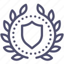 achievement, award, badge, protection, security, shield, wreath icon