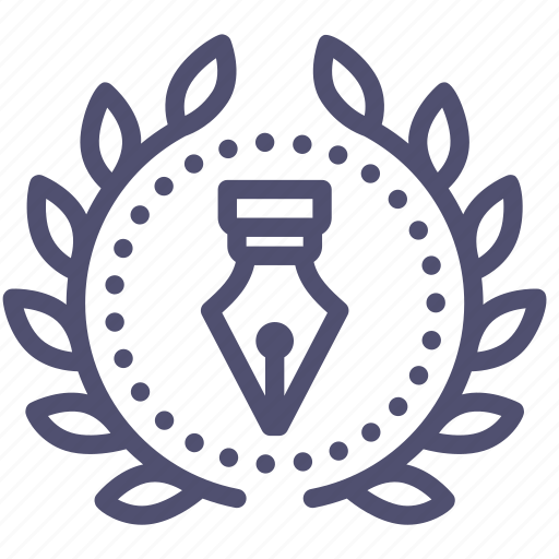 achievement, award, badge, creative, design, pen, wreath icon