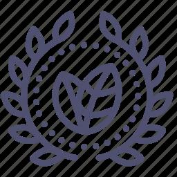 achievement, award, badge, bio, eco, leaves, wreath icon