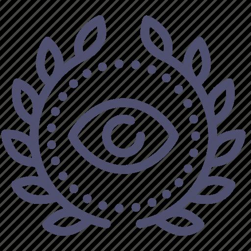 achievement, award, badge, eye, private, spy, wreath icon