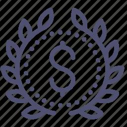 achievement, award, badge, budget, business, money, wreath icon