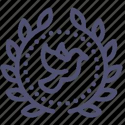 achievement, award, badge, dove, peace, pigeon, wreath icon
