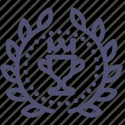 achievement, award, badge, cup, prize, win, wreath icon
