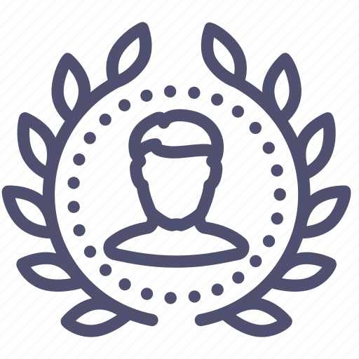 achievement, award, badge, leader, user, winner, wreath icon