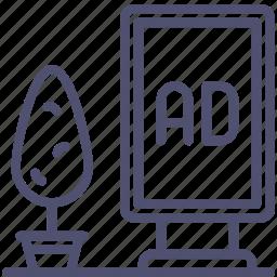 ad, advertisement, advertising, billboard, board, sign, street icon