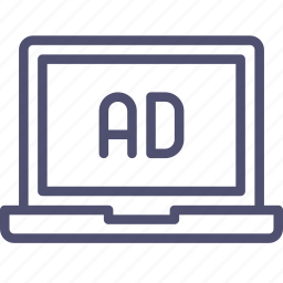 ad, advertise, advertisement, laptop, sponsor icon