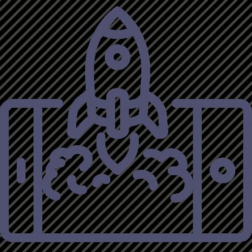 app, business, launch, mobile, process, rocket, start icon