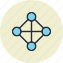 full, hierarchy, link, net, network, share, topology icon