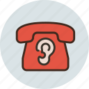 call, communication, contact, device, ear, phone, spy