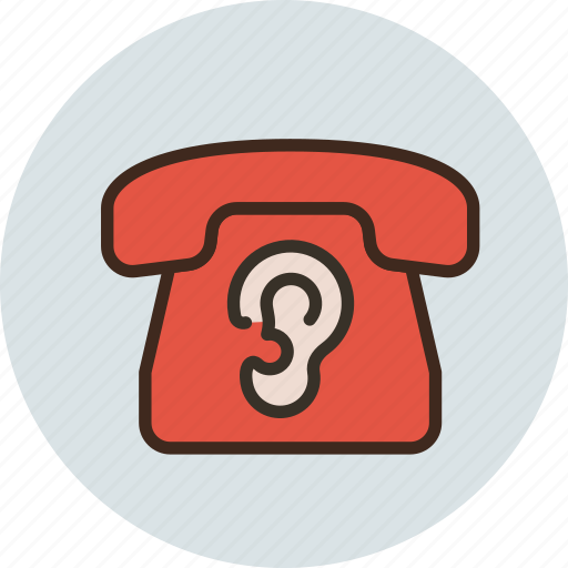 call, communication, contact, device, ear, phone, spy icon