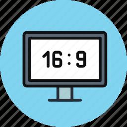 aspect ratio, device, full hd, hd, television, tv, wide icon