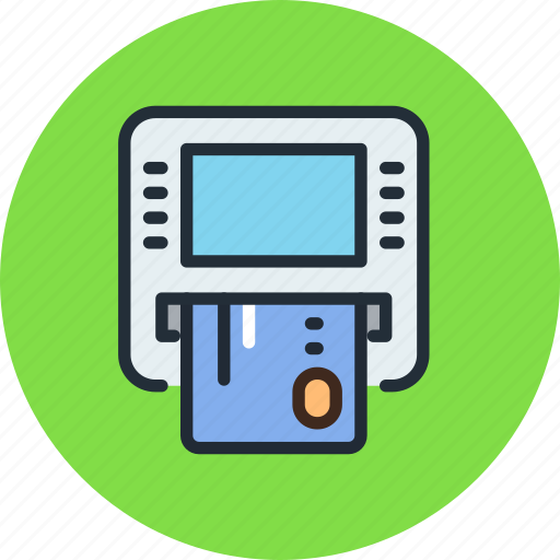 atm, cash, credit card, dispenser, insert, machine, money icon