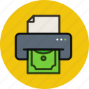 dollar, money, print, printer