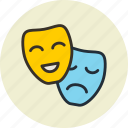 artists, comedy, drama, masks, roles, theter, tragedy icon