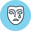 dolorous, emotion, face, mask, mimicry, sad, sadness