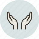care, cover, hands, save, shelter, shield icon