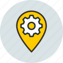 gear, geo, icojam, location, preferences, targeting icon