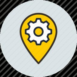 gear, geo, icojam, location, preferences, targeting icon