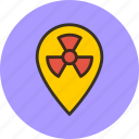 danger, geo, location, nuclear, radioactivity, targeting icon