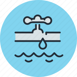 burst, faucet, flood, insurance, pipe, valve, water icon