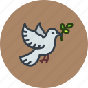 dove, olive, pax, peace, world icon