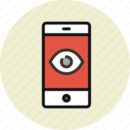 camera, remote control, smartphone, spy, trojan, virus, wiretapping icon
