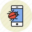 bug, smartphone, spy, trojan, virus icon