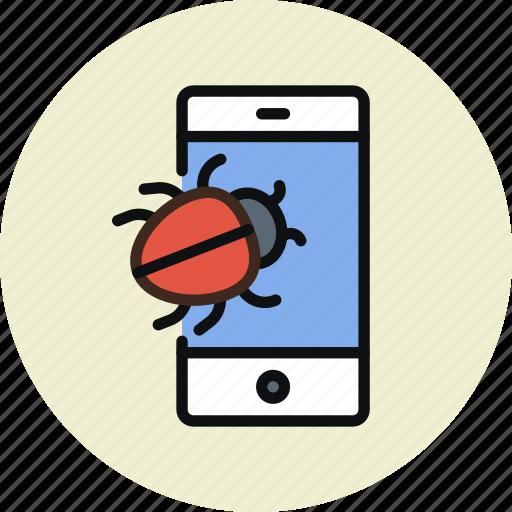 bug, smartphone, spy, trojan, virus icon