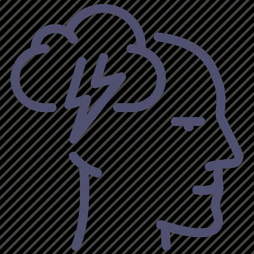 brain, face, head, idea, mental, mind, storm icon