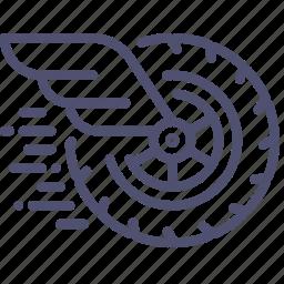 auto, fast, mechanics, movement, physics, wheel, wing icon