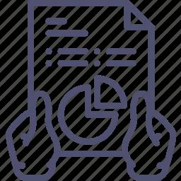 analysis, analytics, diagram, hands, report icon