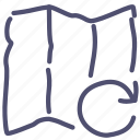 map, redo, sync icon