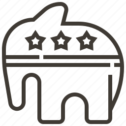elephant, political, politics, republican, united states of america icon