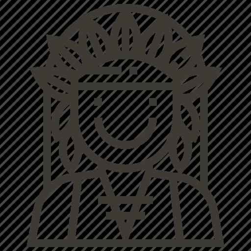 avatar, boy, man, native american icon