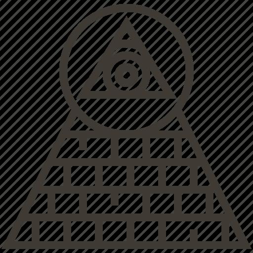 dollar, eye, pyramid, united states of america icon