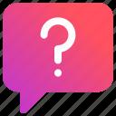 bubble, chat, help, massage, question mark, talk