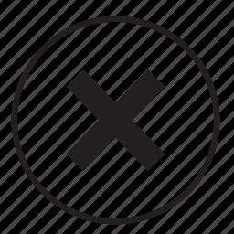 cancel, close, cross, delete, exit, remove, trash icon