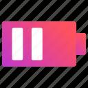 battery, level, medium, status