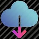 cloud, down arrow, download