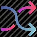 arrow, directions, shuffle