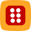 casino, dice, six icon