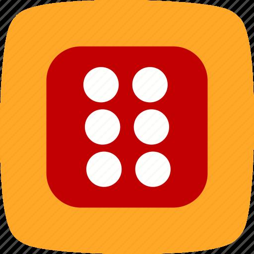 casino, dice, six icon
