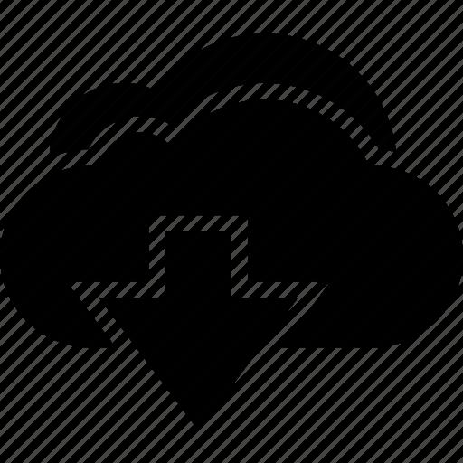 arrow, cloud, computing, down, download icon