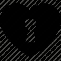 heart, hole, key, keyhole, love, romance, unlock icon