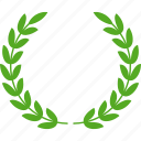 achievement, award, glory, green, laurel, victory, wreath