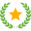 achievement, glory, laurel, star, success, victory, wreath