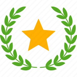 achievement, glory, laurel, star, success, victory, wreath icon