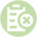 cross, file, page, paper, pencil, sheet icon