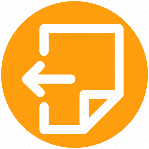 arrow, document, file, left, page, sheet icon