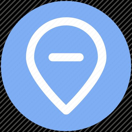 location, map, minus, pin, world location icon
